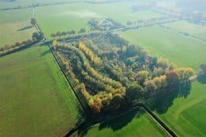 Luftbild vom Food Forest Ketelbroek in Holland